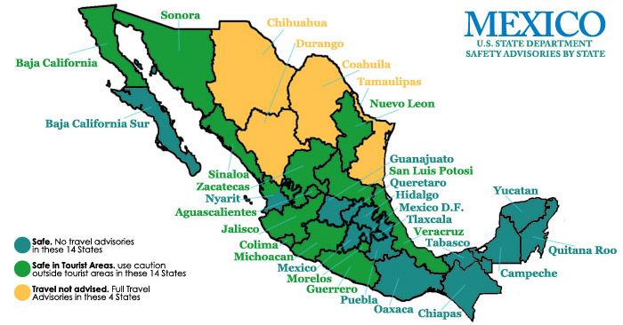 safe mexican states with no travel advisories